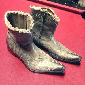 Men's Aldo Silver Boots Western Style Frayed Top